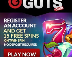 15 Free Spins on Twin Spin at Guts Casino