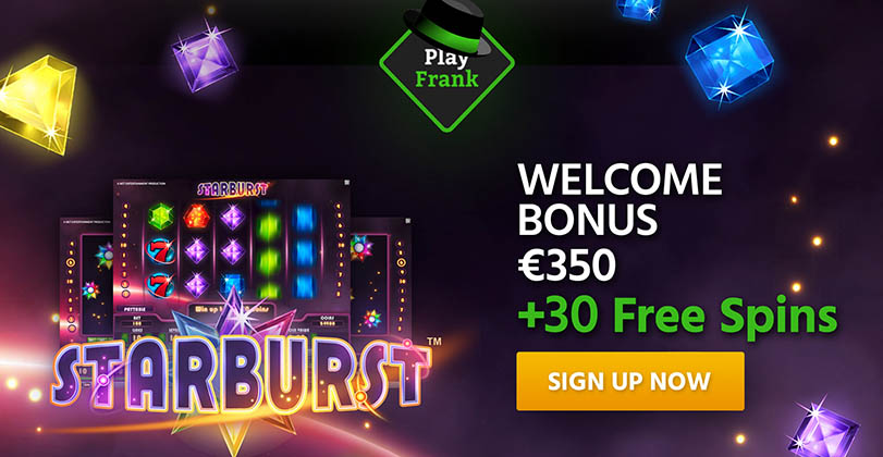 100% Welcome Bonus up to €350 + 30 Free Spins at Play Frank