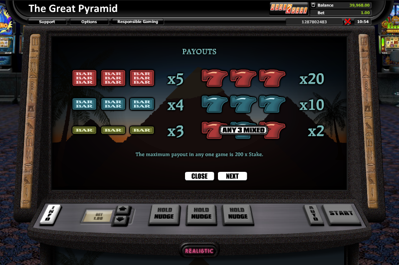 The Great Pyramid Slot by Realistic Games Screenshot