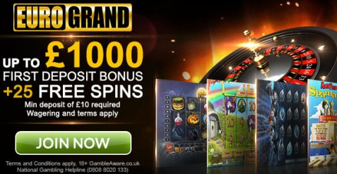 %100 Welcome Bonus up to £1000 +25 Free Spins at Eurogrand Casino