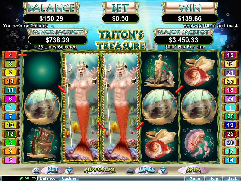 Tritons Treasure Slot by Realtime Gaming Screenshot