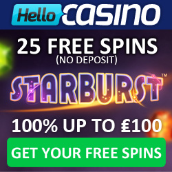 25 Free Spins on Starburst at Hello Casino