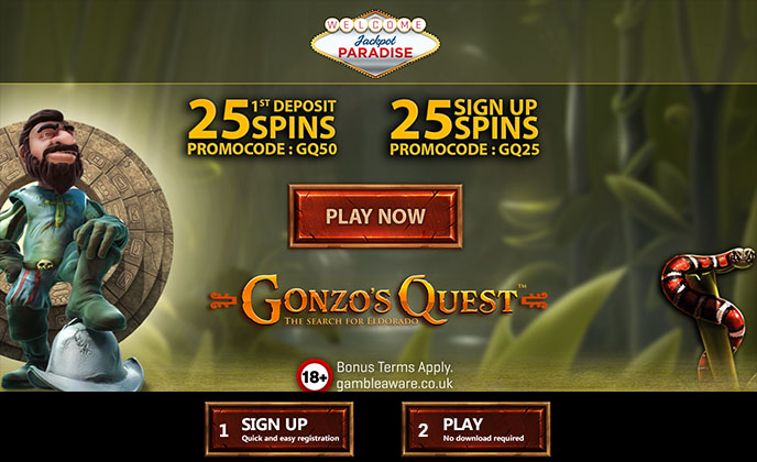 50 Free Spins on Gonzo's Quest Slot at Jackpot Paradise