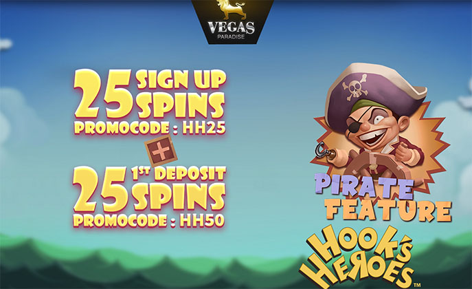 50 Free Spins on Hook's Heroes Slot at Vegas Paradise