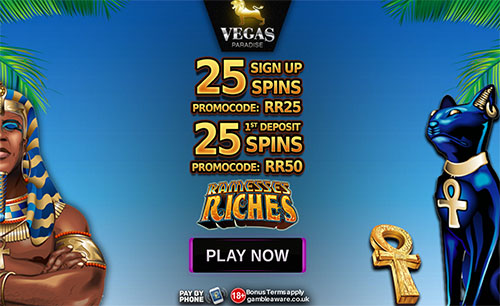 50 Free Spins on Ramesses Riches Slot at Vegas Paradise