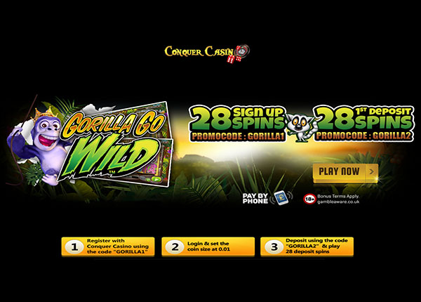 56 Free Spins on Gorilla Go Wild Slot at Conquer Casino