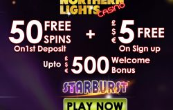 £5 No Deposit Bonus + 50 Free Spins + £500 Welcome bonus at Northern Lights Casino
