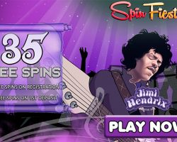 35 Free Spins on Jimi Hendrix Slot at Spin Fiesta