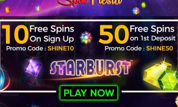 10 Free Spins on Registration 50 Free Spins on Deposit at Starburst